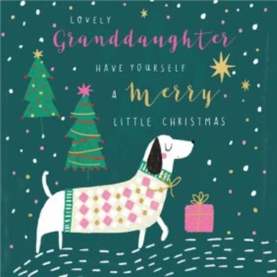 Pigment Cute Dog Lovely Granddaughter Christmas Card