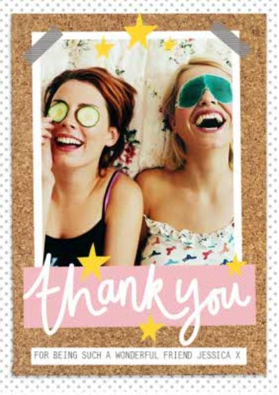 Thank you card - female friend - photo upload card