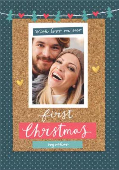 First Christmas Together Cork Collage Photo Upload Card