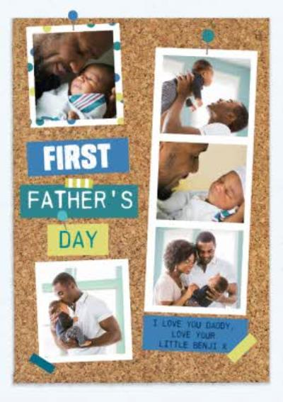 Pinboard Background Happy First Father's Day Multi-Photo Card