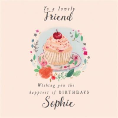 Traditional cupcake illustration lovely friend birthday day