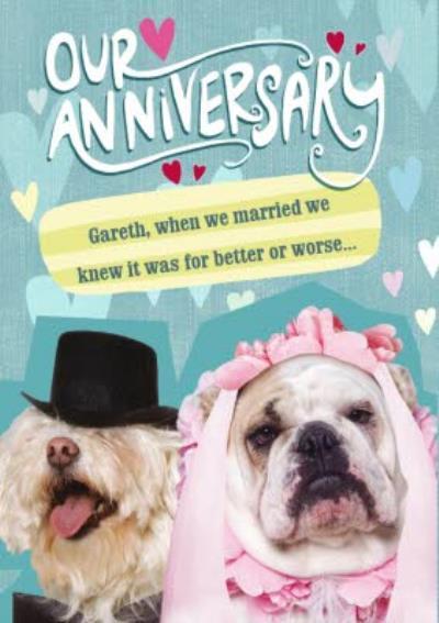 Bridal Bulldog Funny Personalised Happy Anniversary Card