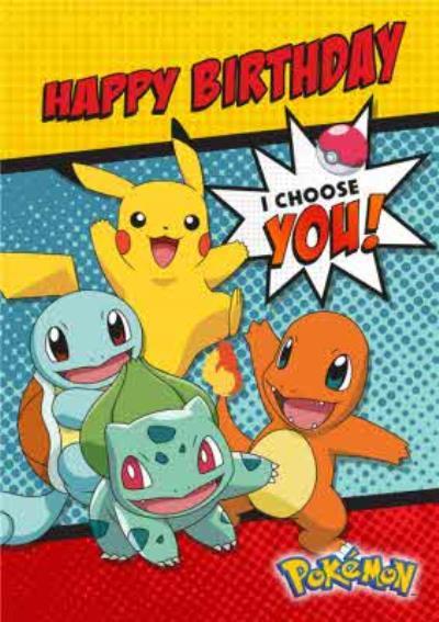 Pokemon Birthday activity Card - I CHOOSE YOU!
