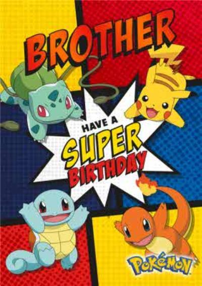 Pokemon Birthday activity Card - Brother Have a super Birthday