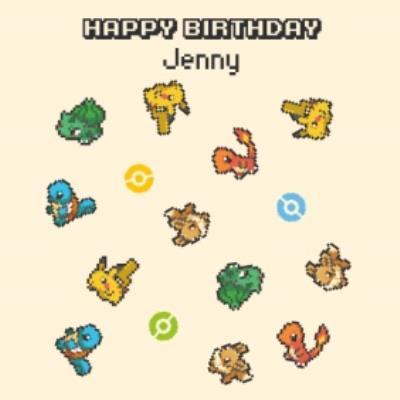 Danilo Pokemon Pixalated Characters Birthday Card