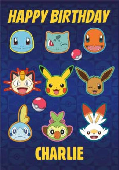 Pokemon Character Heads Birthday Card