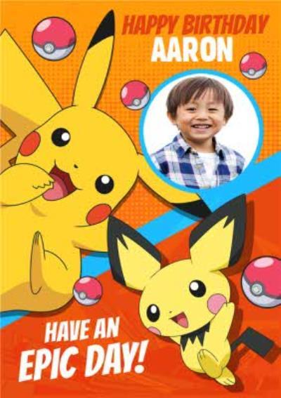 Pokemon Pikachu Photo Upload Birthday Card