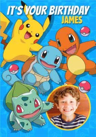 Pokemon Characters Photo Upload Birthday Card