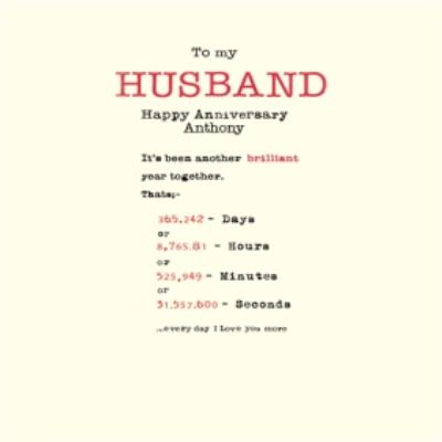 Days And Hours Personalised Anniversary Card For Husband