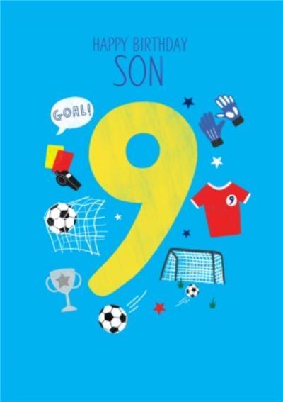 Happy Birthday Son Football Themed 9th Birthday Card