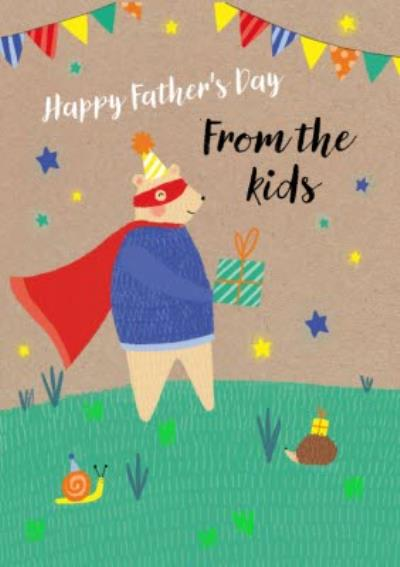 Cute Bear Illustration From The Kids Father's Day Card