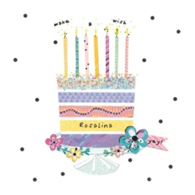 Pretty Pastel Cake Happy Birthday Card