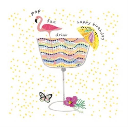 Flamingo And Cocktail Happy Birthday Card Moonpig