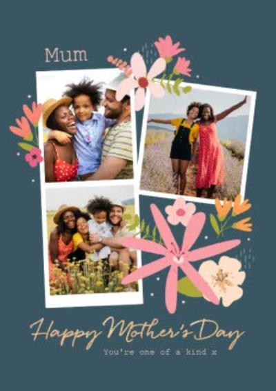 Photo Upload Modern Floral Design Mothers Day Card