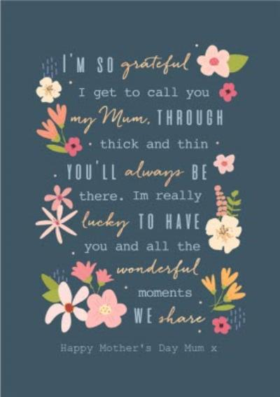 Happy Mothers Day MumThoughtful Words Modern Floral Design Mothers Day Card