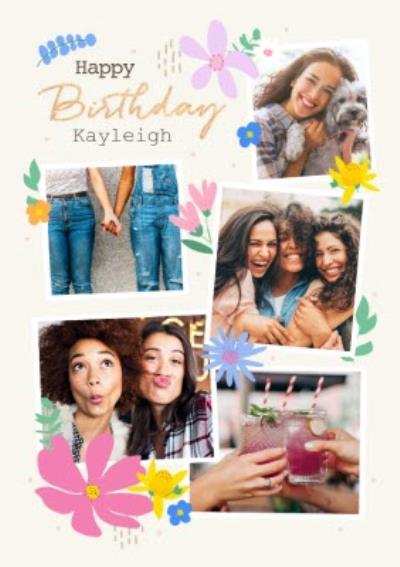 Happy Birthday Female Friend Floral Photo Upload Birthday Card