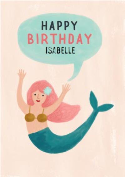 Cute Mermaid Happy Birthday Card