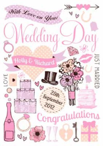 Illustrated Personalised Wedding Day Card