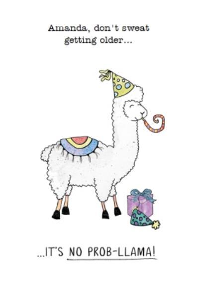 Funny Getting Older Llama Birthday Card
