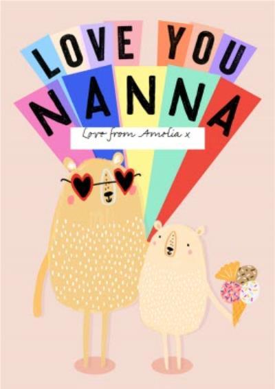 Bear Love You Nanna Personalised Mother's Day Card