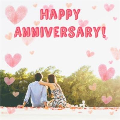 Watercolour Hearts Happy Anniversary Photo Card