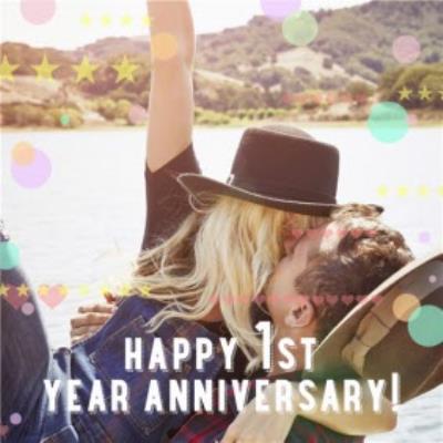 Pastel Polka Dots Happy First Anniversary Photo Card