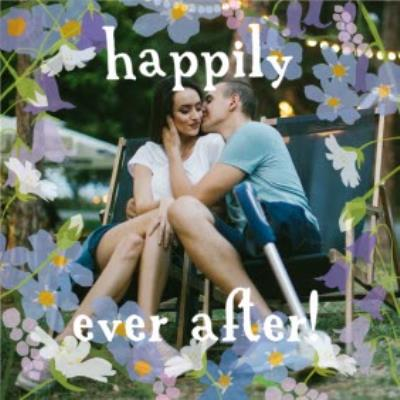 Bluebells Happily Ever After Personalised Photo Upload Wedding Day Card