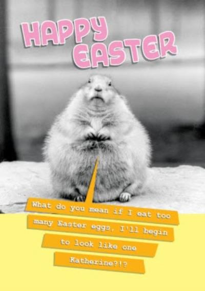 Fat Squirrel Happy Easter Card