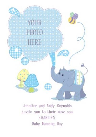 Little Blue Elephant Personalised Photo Upload Baby Naming Day Invitation Card