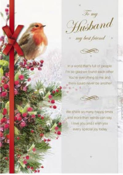 To Husband Best Friend Robin On Christmas Tree Card