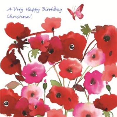 Happy Birthday Day Card - Poppy Watercolour