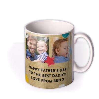 Father's Day Star and Confetti Collage Memory Mug