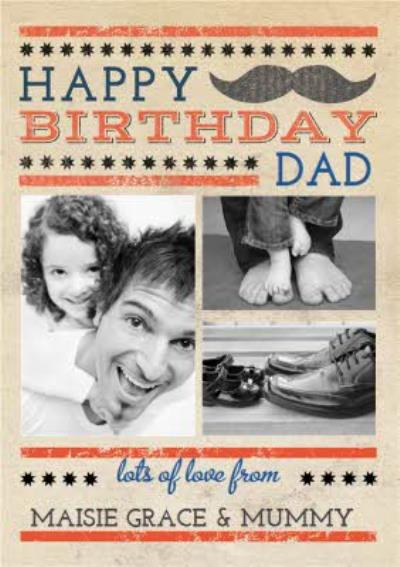 Classic Stache Happy Birthday Dad Photo Card