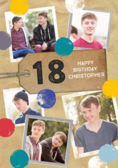 Colourful Polka Dots Multi-Photo Happy 18th Birthday Card