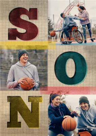 Son Block Letters Multi-Photo Card