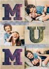 Big Block Mum Letters Multi-Photo Personalised Mother's Day Card