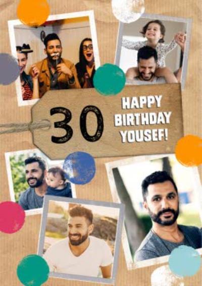 30 Happy Birthday Multi Photo Upload Card