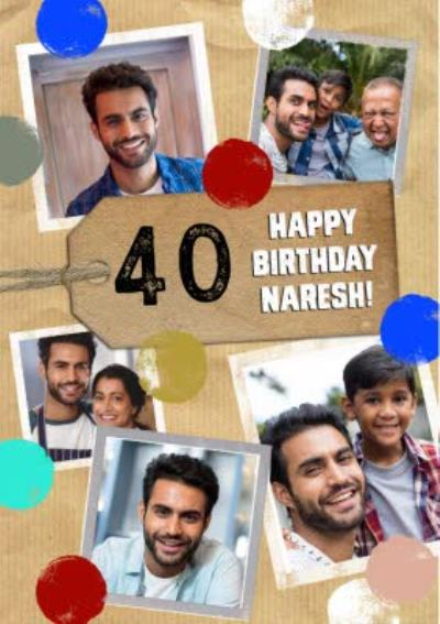 40 Happy Birthday Multi Photo Upload Card