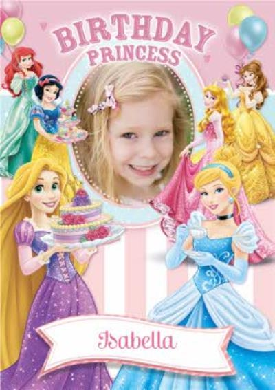 Disney Princesses And Balloons Personalised Happy Birthday Card
