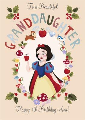 Disney Princess Snow White Personalised Granddaughter Card