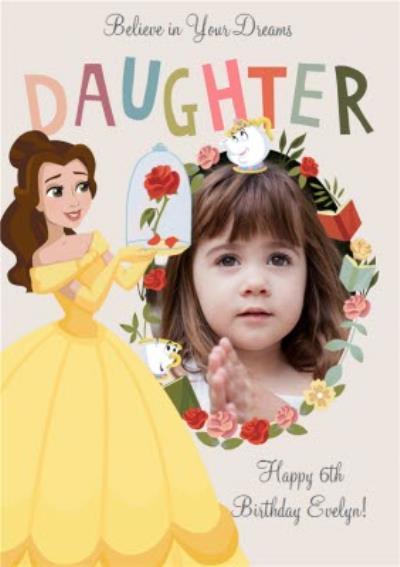 Disney Princess Belle Photo Upload Birthday Card