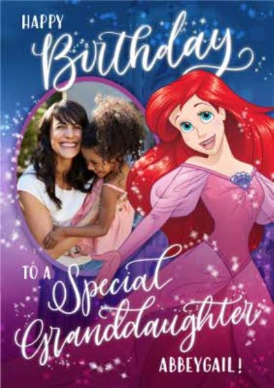 Disney Princess Ariel Special Granddaughter Birthday Photo Card