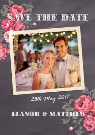 Pink Roses Save The Date Wedding Card