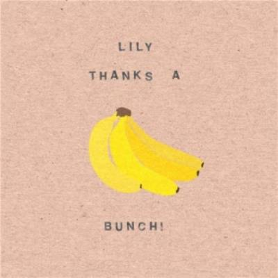 Banana Thanks A Bunch Personalised Thank You Card
