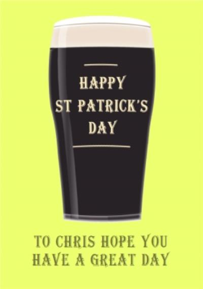 Irish Stout Personalised Happy St Patrick's Day Card