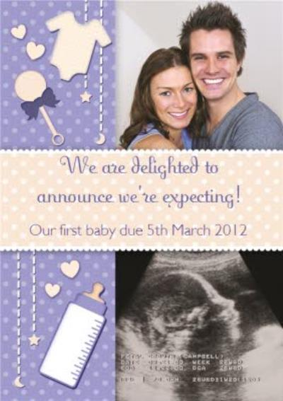 Purple Baby Announcement Personalised Photo Upload We're Expecting Card