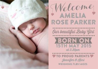 New Baby Announcement Landscape Pink Photo Card