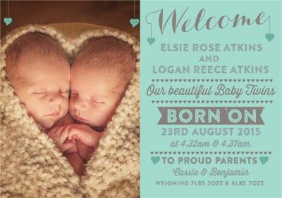 New Baby Twins Teal Announcement Card