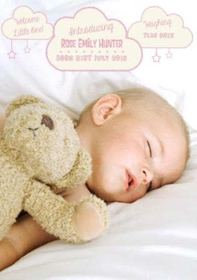 Introducing Our Beautiful Baby Girl Announcement Card