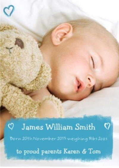 Proud Parents Personalised Photo Upload Baby Announcement Card